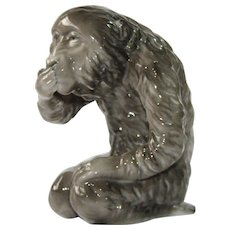 "1910's ""Speak no Evil"" Monkey by Kalk Eisenberg - Porcelain Art Nouveau  Iwazaru Figurine"