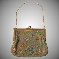 19th Century Victorian Floral Microbeaded Purse with Bronze Frame