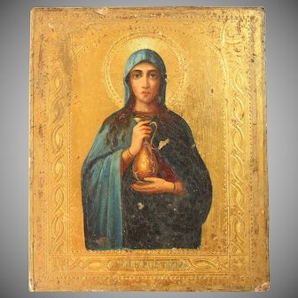 Superb 19th century Russian Gilt Icon depicting Mary Magdalene