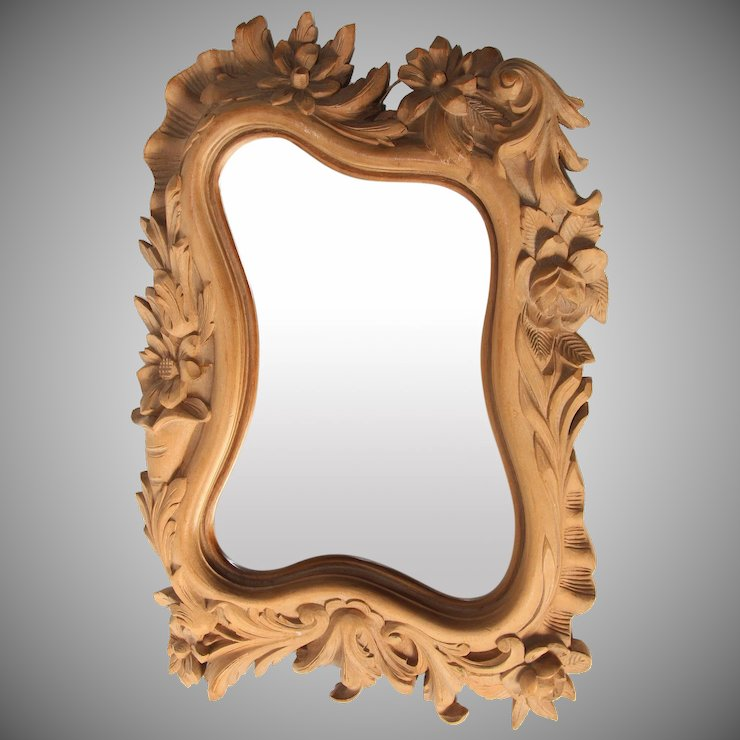 1900 S French Art Nouveau Hand Carved Wood Mirror