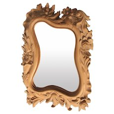 1900's French Art Nouveau Hand Carved Wood Mirror
