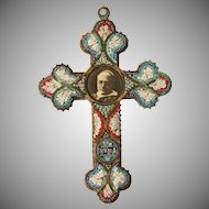 1910's Century Stunning Micro Mosaic Cross with photo of Pope Pius XI  - Souvenir from Rome