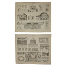 19th Century Set of two Prints of Ancient Roman and Etruscan Architecture - 1874 Architectural Steel Engraving