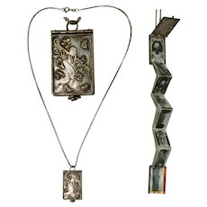 French Art Nouveau Miniature Photo Album Pendent of Ars on a Vintage Sterling Silver Necklace - Souvenir from France