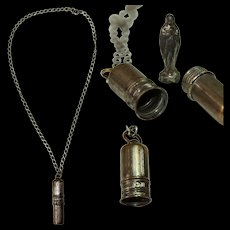 19th Century Victorian Miniature Figure of Virgin Mary in Capsule Pendent on a Vintage Sterling Silver Necklace
