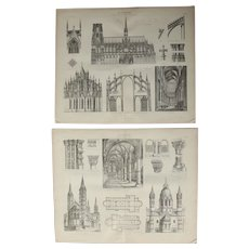 19th Century Set of two Prints of Gothic & Romanesque Architecture - 1874 Architectural Steel Engraving