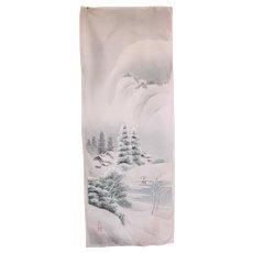 "1910's Original Japanese Silk Painting Kakejiku ""Winter Landscape"""