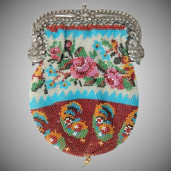 19th Century Early Victorian Floral Microbeaded Purse with Sterling Silver Frame
