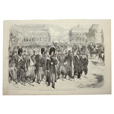 1856 Original Depiction of the returning French troops from the Crimean War in Paris with Napoleon - Antique Steel Engraving