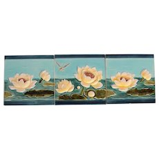 """Art Nouveau Set of three 1900's Tiles """"Water Lilies & Dragon-Fly"""""""