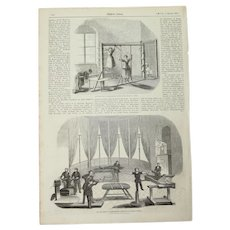 1856 Original Print of two Kinesiotherapy gyms in Berlin - Antique Steel Engraving