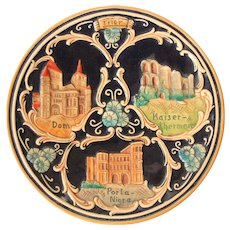 Art Nouveau Souvenir Plate from Trier Germany -  Stoneware plate from Treves