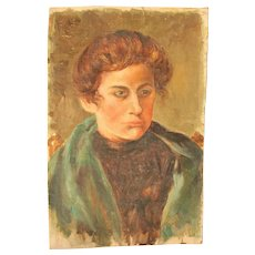 1900's Oil Painting of a young man by Else Dassel