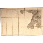 1856 Folding Map of the region around St. Jean Pied de Port in France / Spain