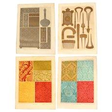 Art Nouveau Set of two Prints of Damascening & Damask - 1900's Polychrome & Metallic Lithograph