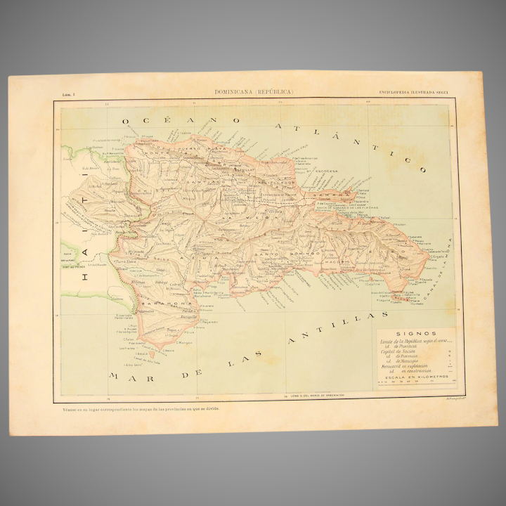 Art Nouveau Map of Dominican Republic incl. Santo Domingo & Punta Cana -  1900\'s Polychrome Lithograph