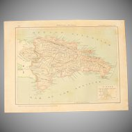 Art Nouveau Map of Dominican Republic incl. Santo Domingo & Punta Cana - 1900's Polychrome Lithograph