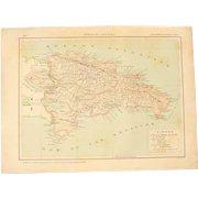 Art Nouveau Map of Dominican Republic incl. Santo Domingo & Punta Cana - 1900's Polychrome Lithograph