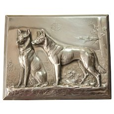 Art Nouveau WMF Lid of a Cigarette Box designed under Albert Mayer - Silver plated Decoration from circa 1910