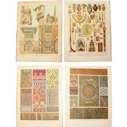 Art Nouveau Set of two Prints of Arabic Patterns, Architecture & Art Objects - 1900's Polychrome & Metallic Lithograph