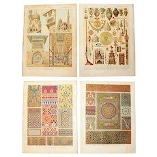 Art Nouveau Set of two Prints of Arabic Patterns, Architecture & Art Objects - 1900's Polychrome & Metallic Lithograph