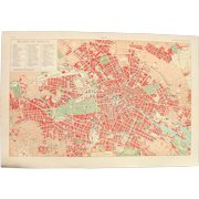 Art Nouveau Map of Berlin including Train lines & Photos of Sights - 1900's Polychrome Lithograph