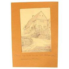 1909 Original Art Nouveau Pencil Drawing by Franz Brantzky