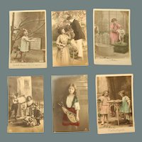 Set of six Art Nouveau Postcards of Children