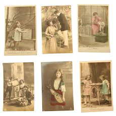 Set of six Art Nouveau Postcards of Children