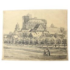 1910's Original Art Nouveau Charcoal Drawing of  Runkel by the River Lahn by Franz Brantzky