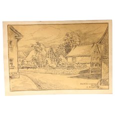 1910's Original Art Nouveau Charcoal Drawing of Illerich by Franz Brantzky