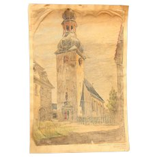1910's Original Art Nouveau Pastel Drawing of the church of Bleidenstadt by Wiesbaden in Germany by Franz Brantzky