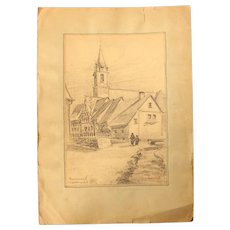 1910's Original Pencil Drawing of the Village of Rennerod (Westerwald) by Franz Brantzky