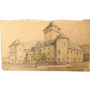 1904 Original Art Nouveau Crayon Drawing of the Electorial Castle Boppard, Germany by Franz Brantzky