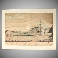 19th Century Hand Colored Copper Engraving of the Oldenburg Palace - 1828 G. F. F. David