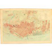 Art Nouveau Map of Buenos Aires Argentina including Train lines & Photos of Sights - 1900's Polychrome Lithograph