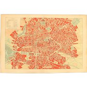 Art Nouveau Map of Brussels Belgium including Train lines & Photos of Sights - 1900's Polychrome Lithograph