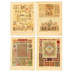 Art Nouveau Set of two Prints of Byzantine Patterns, Architecture & Art Objects - 1900's Polychrome & Metallic Lithograph