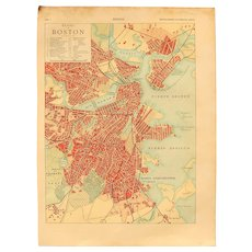 Art Nouveau Map of Boston including Train lines & Photos of Sights - 1900's Polychrome Lithograph