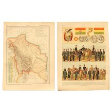 Art Nouveau Map of Bolivia incl. La Paz with Military Uniforms, Coins and Flag on Reverse - 1900's Polychrome Lithograph