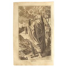 Rare 1701 Copper Engraving of the Prophet Isaiah / Esaias of the Old Testament by Engelhardt Nunzer