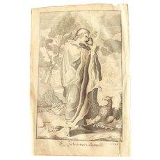 Rare 1701 Copper Engraving of John the Evangelist / Saint John the Apostle