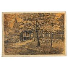 "1900's Original Charcoal Drawing ""Haarhof"" by Franz Brantzky"