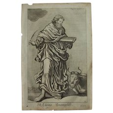 Rare 1701 Copper Engraving of St. Luke the Evangelist by Johann Alexander Boener
