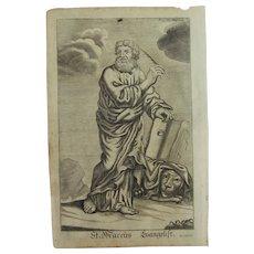 Rare 1701 Copper Engraving of St. Mark the Evangelist by Johann Alexander Boener