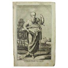 Rare 1701 Copper Engraving of Saint Paul the Apostle by Engelhardt Nunzer