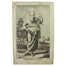Rare 1701 Copper Engraving of Saint Paul the Apostle by Engelhardt Nunzer
