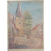 1910's Original Art Nouveau Pastel Drawing of the church square of Holzminden in Germany by Franz Brantzky