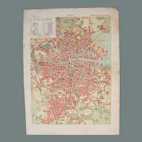 Art Nouveau Map of Dublin including Train lines & Photos of Sights - 1900's Polychrome Lithograph