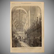 1854 Original Depiction of the Choir of Winchester Cathedral - Antique Steel Engraving